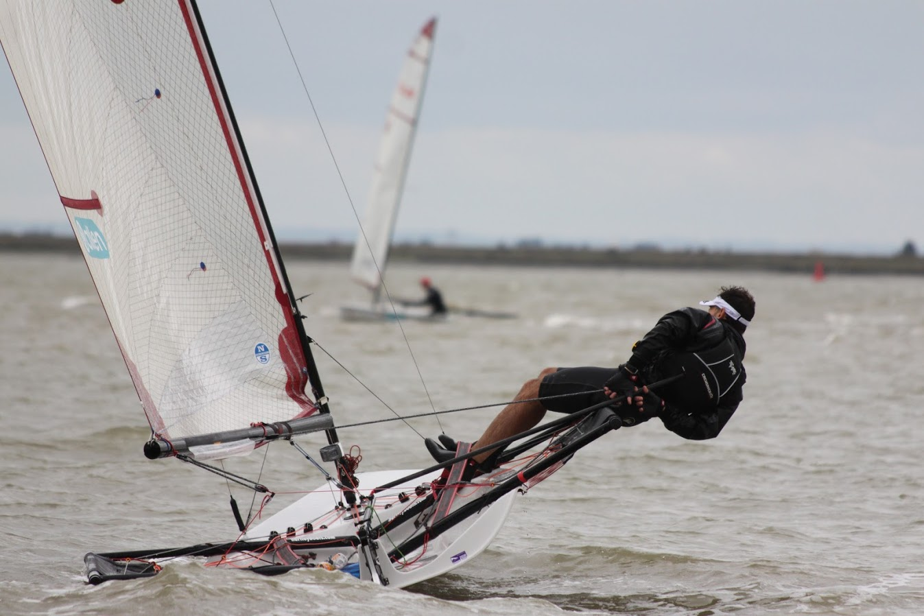 Blaze dinghy mid tack on the river crouch..
