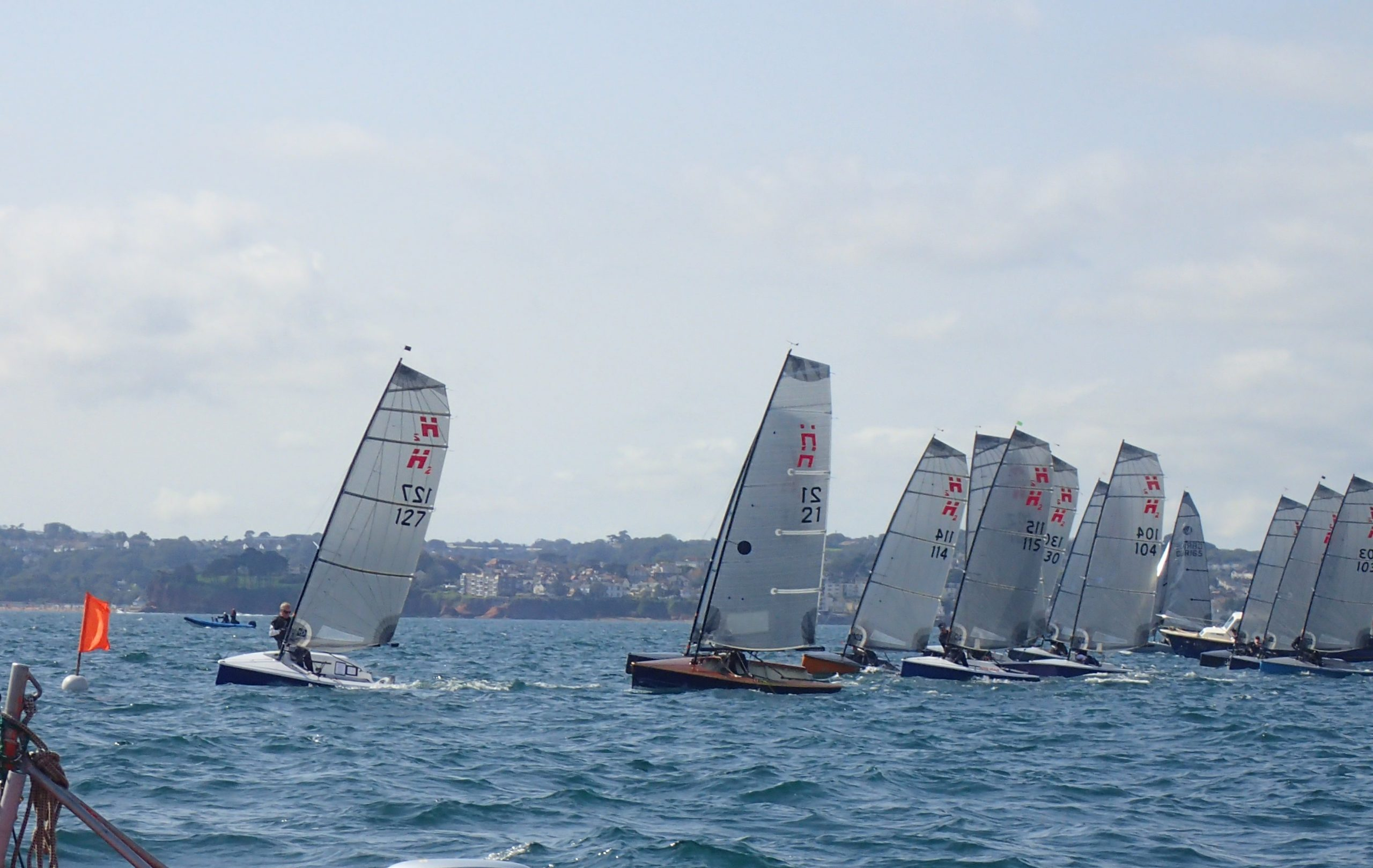 Hadron h2 dinghys starting a race at the nationals