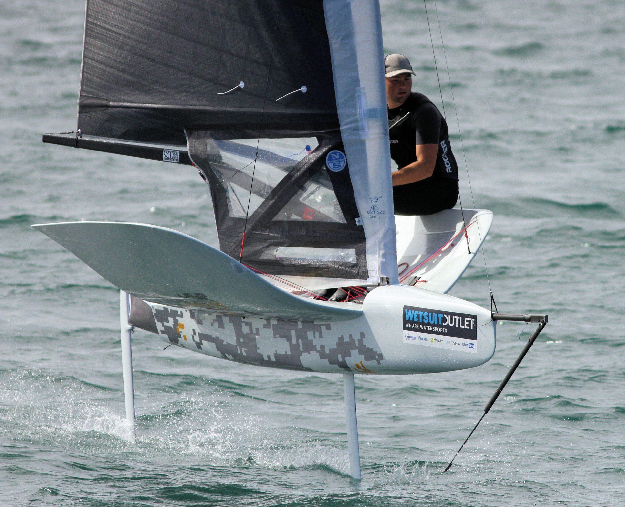 Billy Vennis-Ozanne sailing his rocket international moth